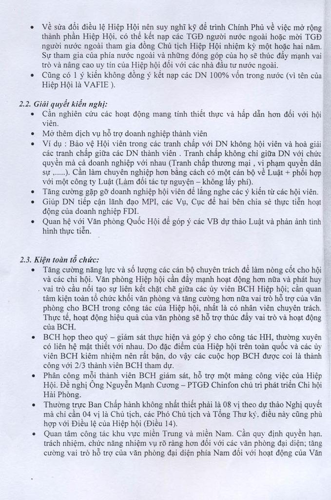 Đại hội II HIệp hội DNĐTNN – 16/3/2007